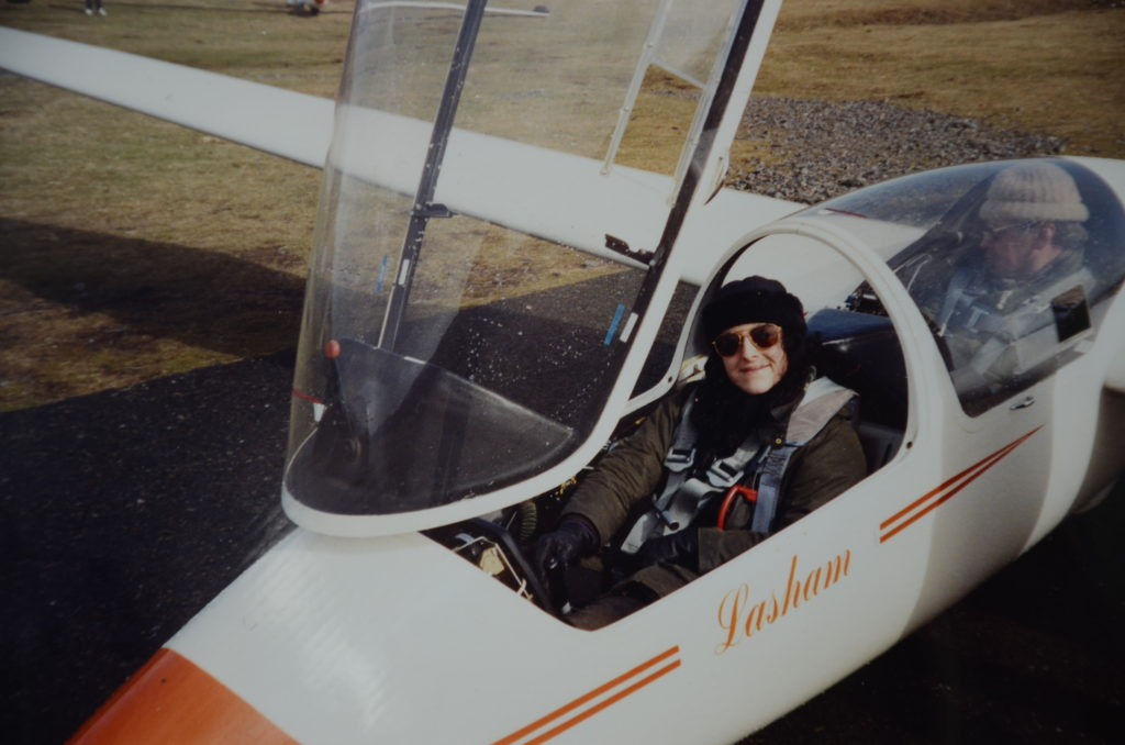Sarah in the front seat of a two-seater glider at Aboyne in Scotland.