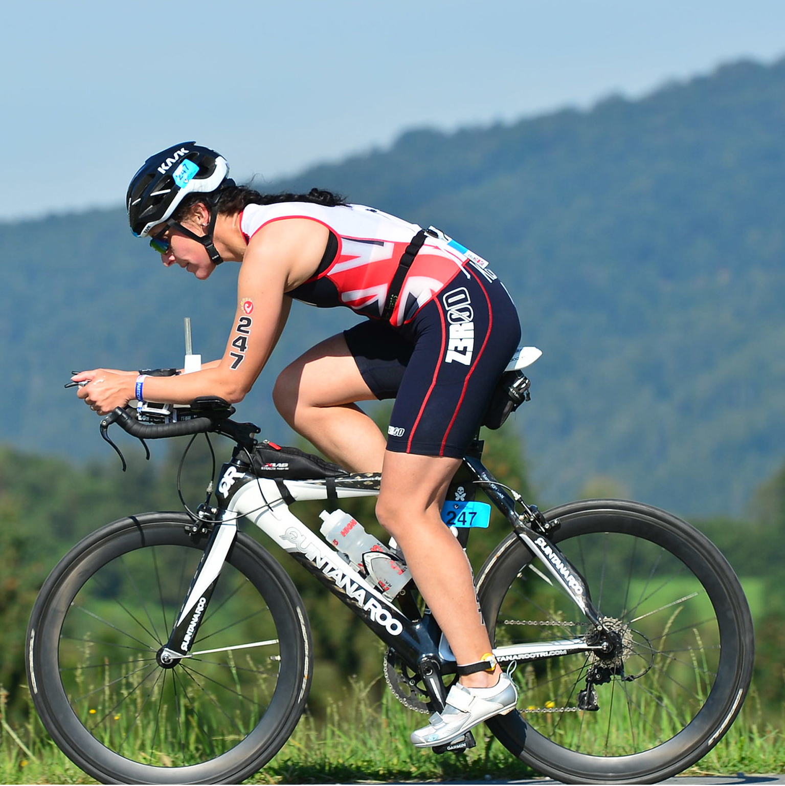 A picture of Sarah on a racing bike, taken during a triathlon in Austria